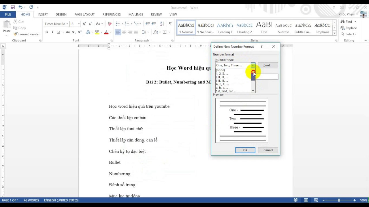 Word 2013: Bullet, Numbering and Multilevel list